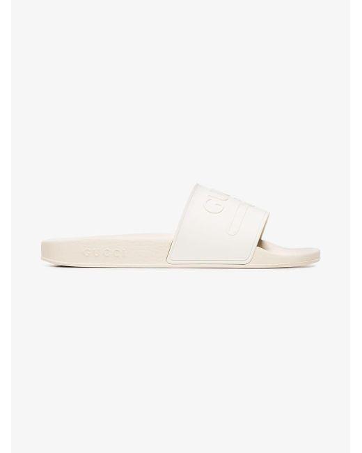 c19925db883498 ... Gucci - White Logo Embossed Slides for Men - Lyst ...