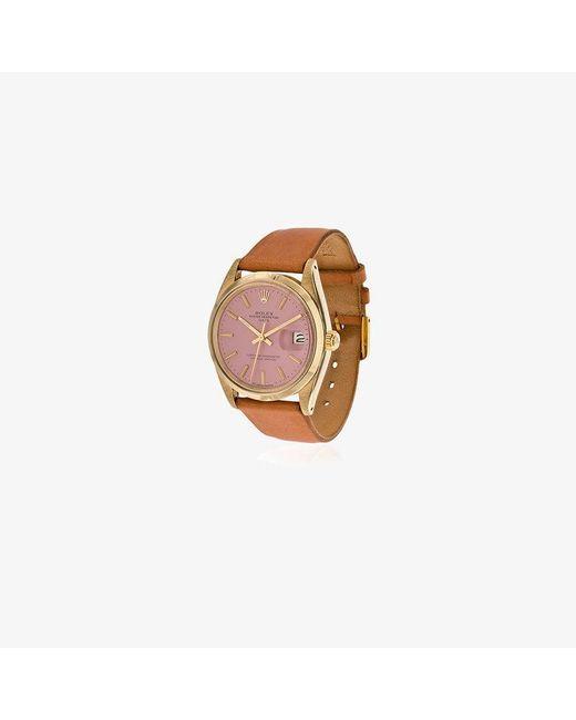 La Californienne - Metallic Flamingo Rolex Oyster Perpetual Date 14k Solid Gold Watch 34mm - Lyst