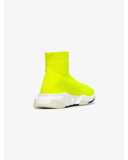 fd387bfd01ef Lyst - Balenciaga Yellow Speed Neon Knitted Sneakers in Yellow ...
