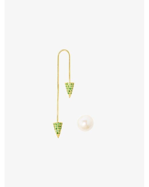 Asherali Knopfer - Green 18k Yellow Gold Tsavorite And Pearl Bar Earring - Lyst