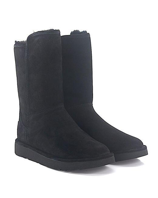Ugg - Ankle Boots Lamb Fur Suede Logo Black - Lyst