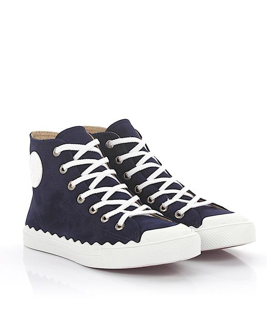 Chloé - Sneaker High Kyle Suede Blue - Lyst
