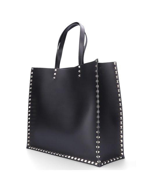 d739aa5e7 ... Valentino - Women Handbag Shopper Rockstud Leather Logo Rivets Gold  Black - Lyst ...