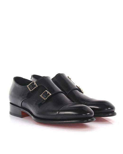Santoni - Double-monk 11652 Leather Black Goodyear for Men - Lyst