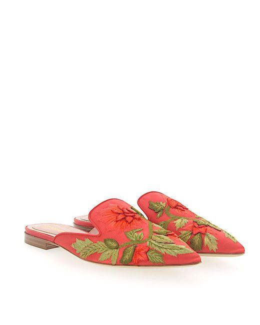 Alberta Ferretti - Clogs Mia Satin Embroidery Flower Pattern Orange - Lyst