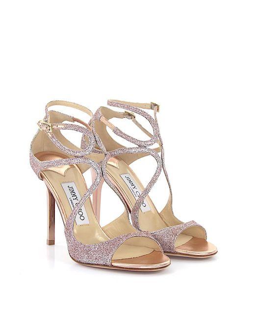 Jimmy Choo   Sandals Lang Fabric Glitter Pink   Lyst