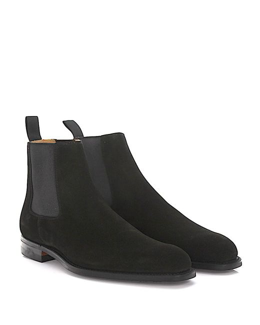 Crockett and Jones - Chelsea Boots Lingfield Suede Black Goodyear Welted - Lyst