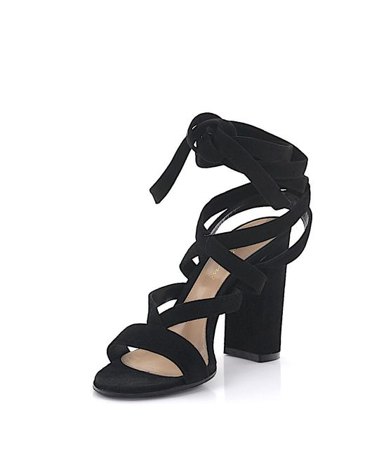 Gianvito Rossi | Sandals Janis High Straps Suede Black | Lyst