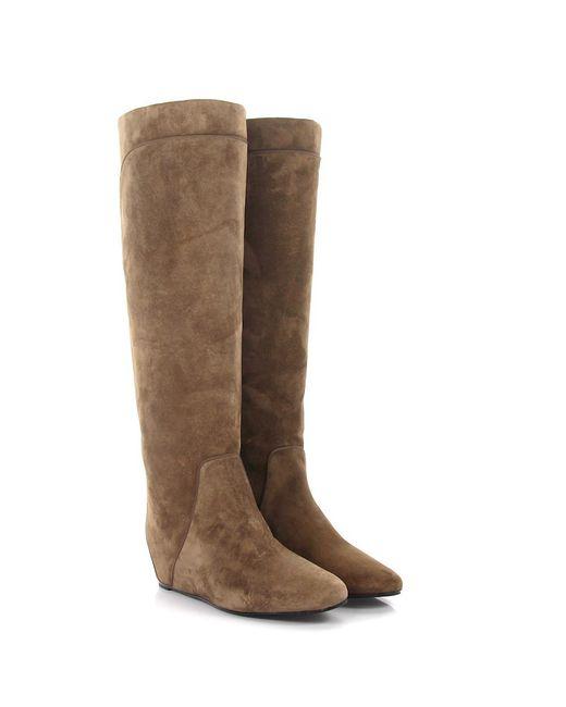 Lanvin - Natural Boots Suede Stitching Beige - Lyst