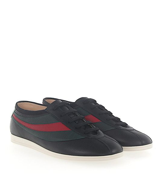 Gucci | Sneakers Low Leather Black Bee Embroidery Web Detail for Men | Lyst