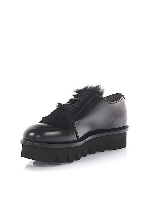 Agl Attilio Giusti Leombruni | Agl Loafers Plateau Leather Black Rabbit Fur | Lyst