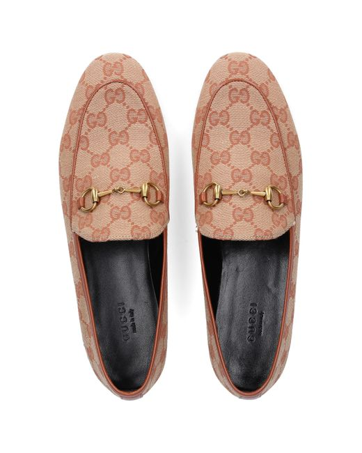 Gucci Slip On Shoes Jordaan Canvas Horsebit Detail Logo