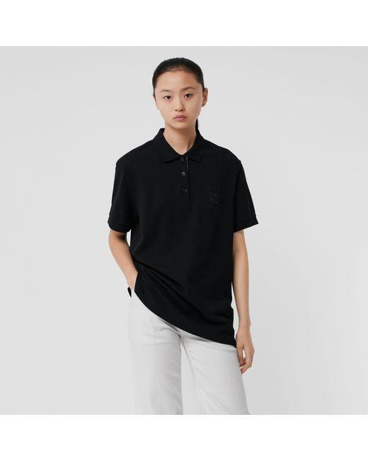 Burberry - Black Check Placket Cotton Piqué Polo Shirt - Lyst