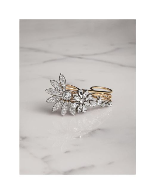Burberry - Metallic Crystal Daisy Gold-plated Double Ring - Lyst