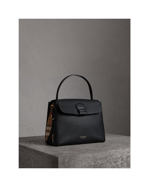 ceff4d4e1342 Lyst - Burberry Medium Grainy Leather And House Check Tote .