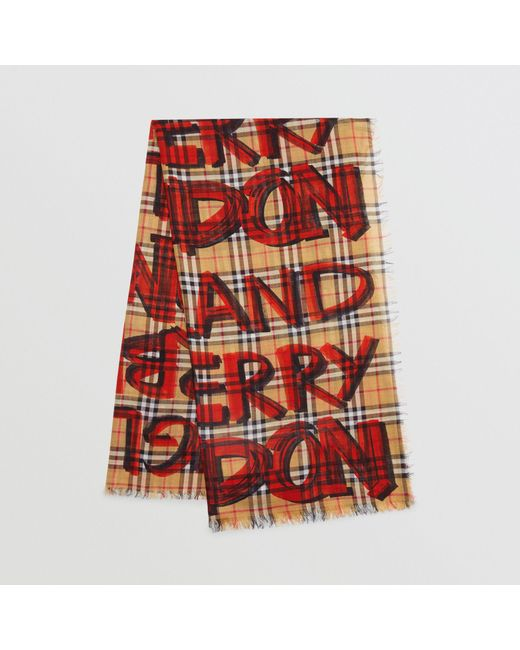 Burberry - Red Graffiti Print Check Wool Silk Large Square Scarf for Men - Lyst