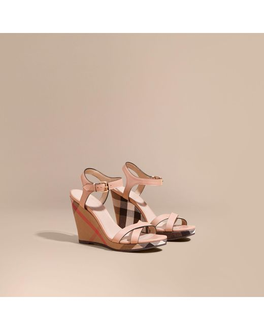 Burberry | Multicolor House Check Detail Leather Wedge Sandals | Lyst