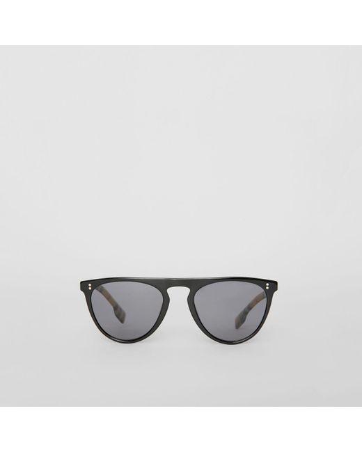 85a461312c5 Burberry - Black Vintage Check Detail Keyhole D-shaped Sunglasses for Men -  Lyst ...