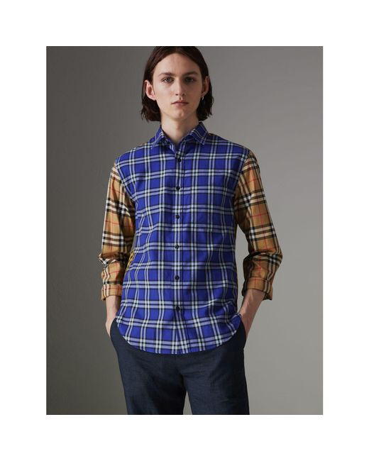 Burberry - Blue Contrast Check Cotton Shirt for Men - Lyst