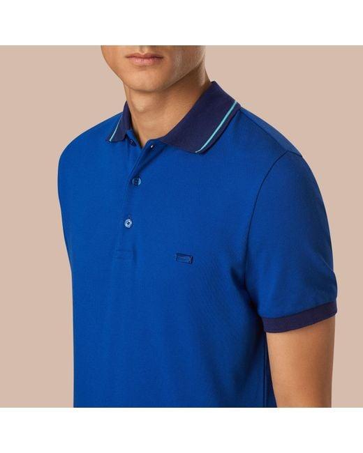 Burberry contrast trim cotton piqu polo shirt cobalt pale for Cobalt blue polo shirt
