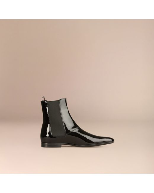 burberry patent leather chelsea boots in black for lyst