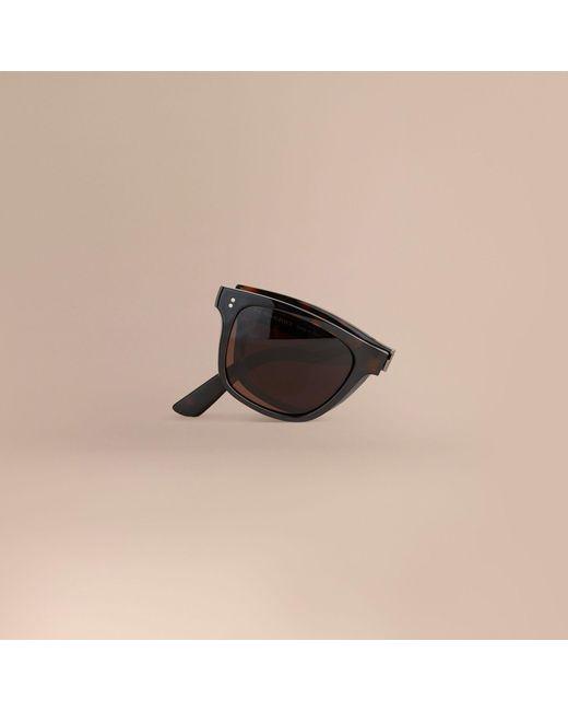 burberry men glasses 8y1m  Burberry  Black Folding Rectangular Frame Sunglasses Dark Brown for Men   Lyst
