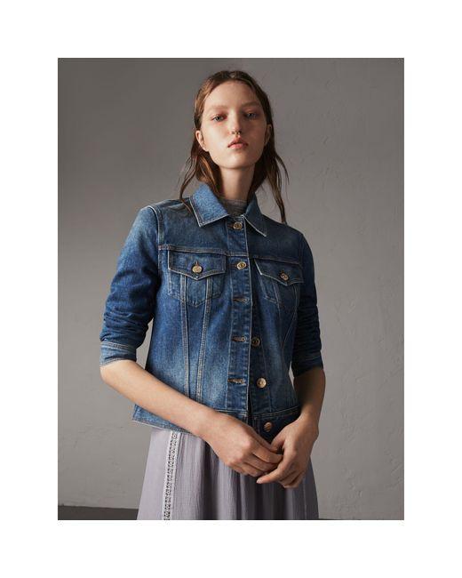 Burberry | Blue Check Detail Denim Jacket Light Indigo | Lyst