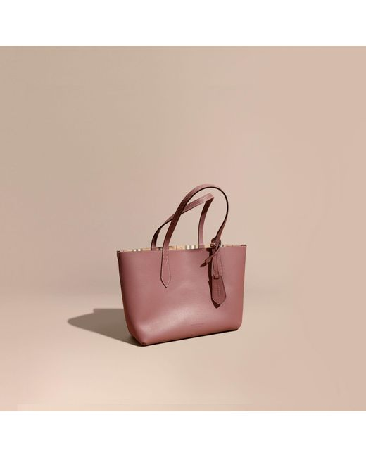 Burberry | Multicolor The Small Reversible Tote In Haymarket Check And Leather Light Elderberry | Lyst