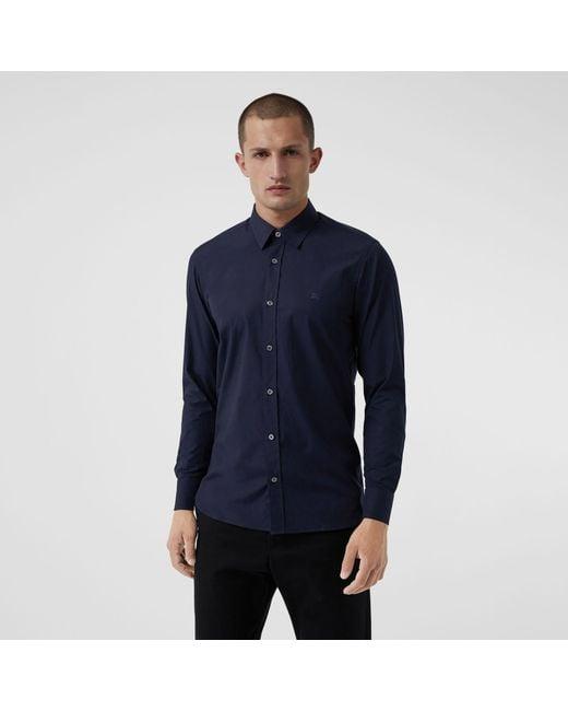 Burberry - Blue Check Cuff Stretch Cotton Poplin Shirt for Men - Lyst
