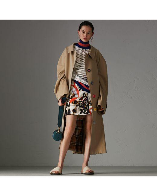 Burberry - Multicolor Graffiti Archive Scarf Print Silk Wool Mini Skirt - Lyst