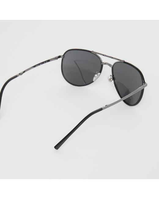 e81a6a4dc013 ... Burberry - Black Folding Pilot Sunglasses for Men - Lyst