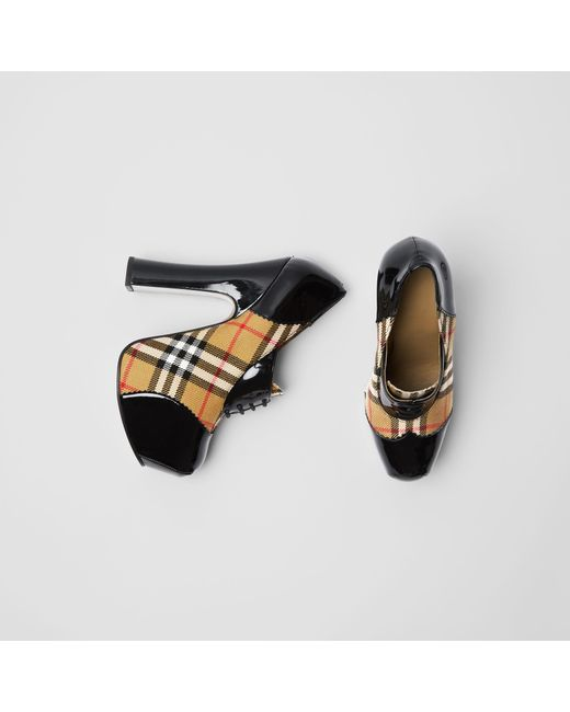 Burberry - Black Vintage Check And Patent Lace-up Platforms - Lyst