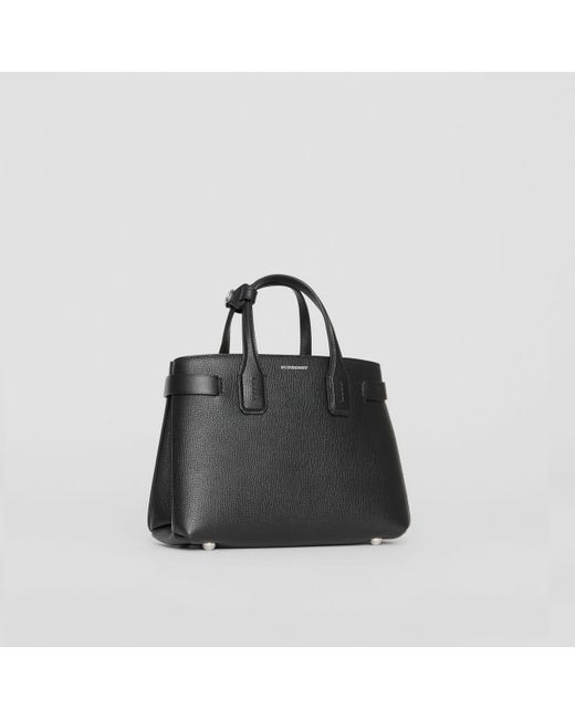 a15bfc075622 Burberry - Black The Small Banner In Leather And Vintage Check - Lyst ...