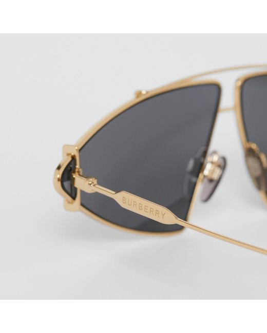 aae955b5a ... Burberry - White Gold-plated Triangular Frame Sunglasses - Lyst ...