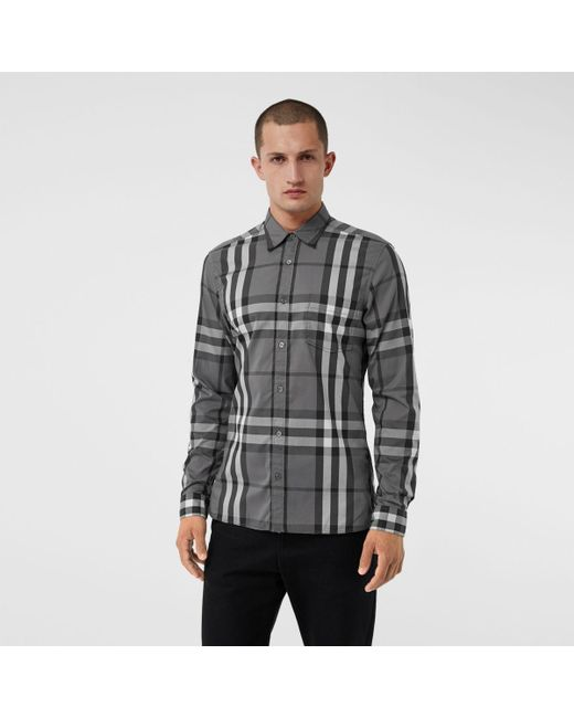 f58b4b2a4fc91a Burberry - Gray Check Stretch Cotton Shirt for Men - Lyst ...