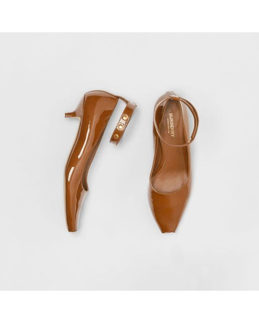 5648131a64 Burberry - Brown Patent Leather Peep-toe Kitten-heel Pumps - Lyst ...