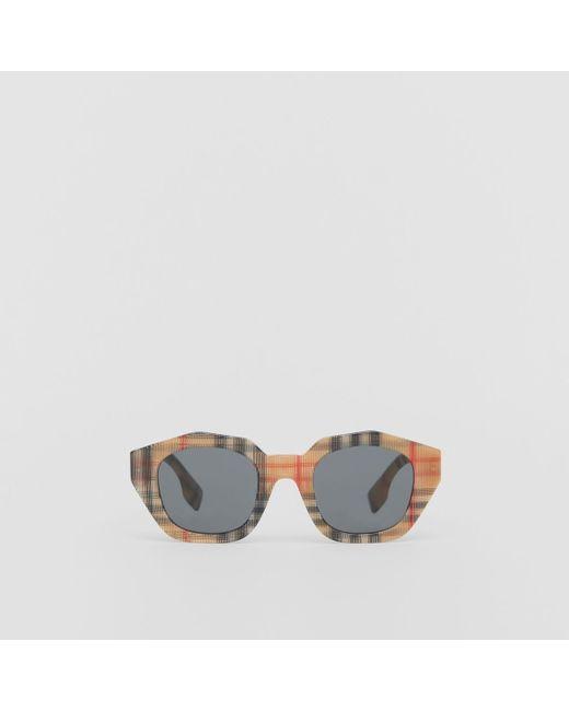 09cb76a331f6 Burberry - Multicolor Vintage Check Geometric Frame Sunglasses - Lyst ...