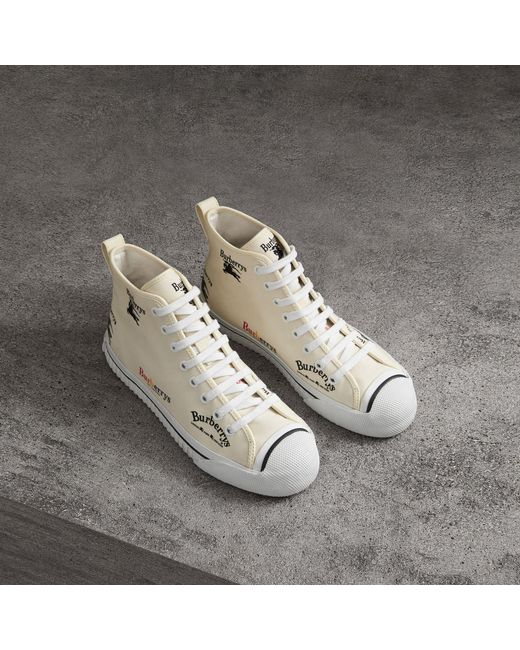 Burberry - White Archive Logo Cotton High-top Sneakers - Lyst