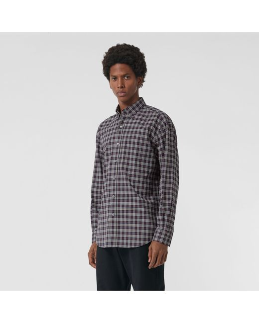 Burberry - Blue Small Scale Check Cotton Shirt for Men - Lyst