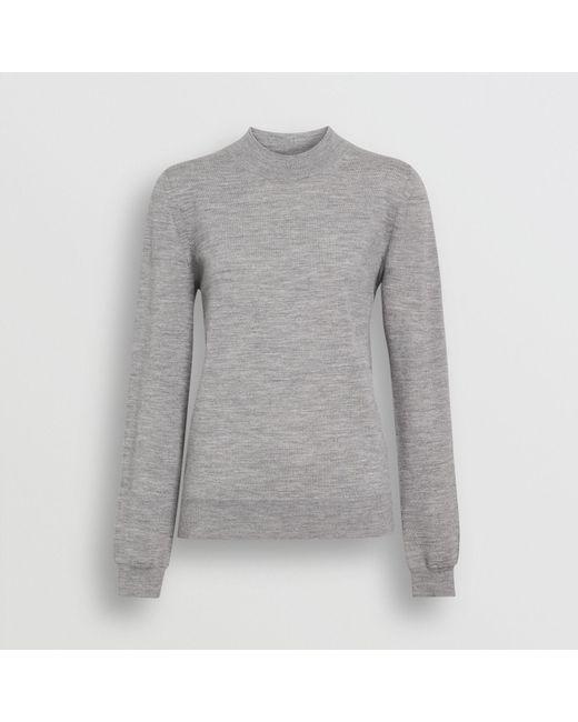 919e6e71ec0c Burberry Merino Wool Crew Neck Sweater in Gray - Lyst