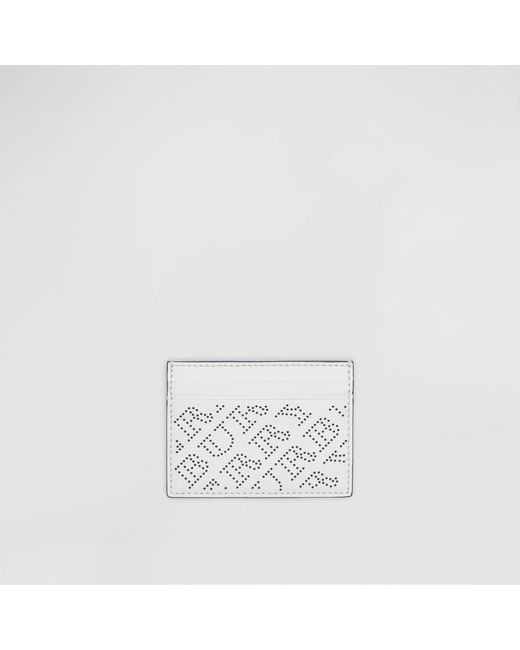 Burberry - White Perforated Logo Leather Card Case - Lyst
