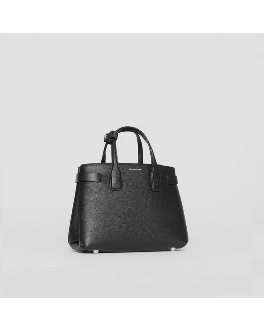 Burberry - Black The Small Banner In Leather And Vintage Check - Lyst ... ca699e5f35