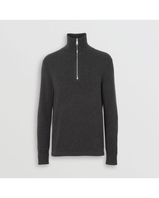 e916d3929612 Lyst - Burberry Rib Knit Cashmere Half-zip Sweater in Gray for Men