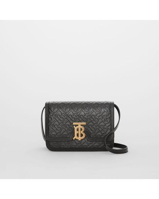 Burberry - Black Small Monogram Leather Tb Bag - Lyst ... e76e86810b0c2