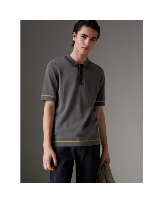 Burberry - Gray Tipped Cotton Jersey Polo Shirt for Men - Lyst