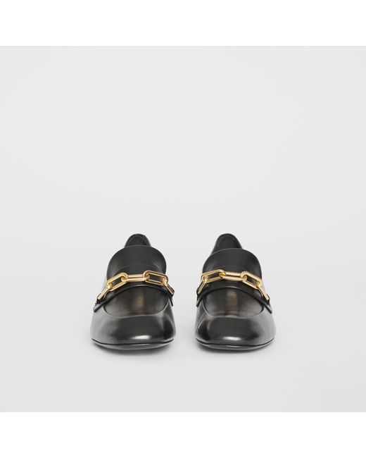 018dc2028c3 ... Burberry - Black Link Detail Leather Block-heel Loafers - Lyst ...