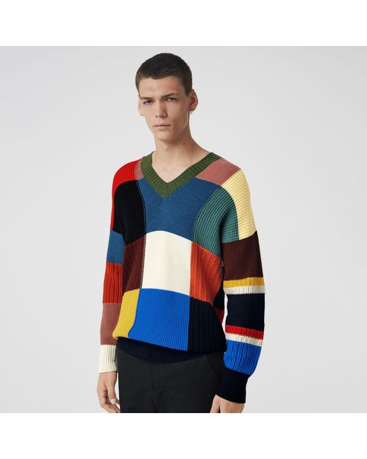 44b7834756f8 Burberry Patchwork Wool V-neck Sweater in Blue for Men - Lyst