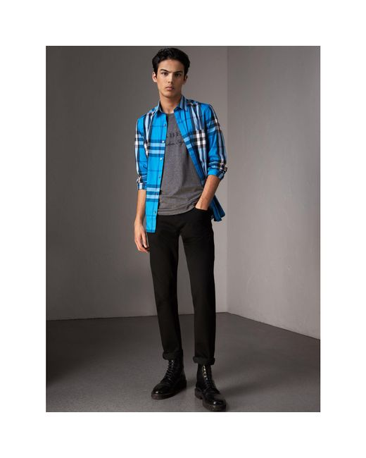 Burberry - Check Stretch Cotton Shirt Bright Blue for Men - Lyst