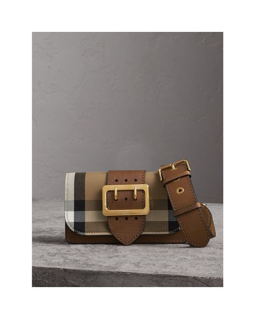 Burberry | Brown Small Buckle House Check And Leather Shoulder Bag | Lyst