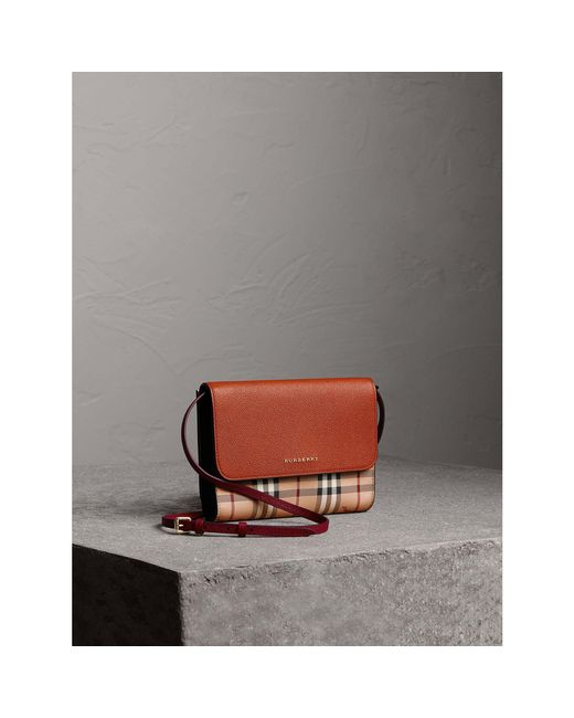 Burberry | Brown Haymarket Check And Leather Crossbody Bag | Lyst